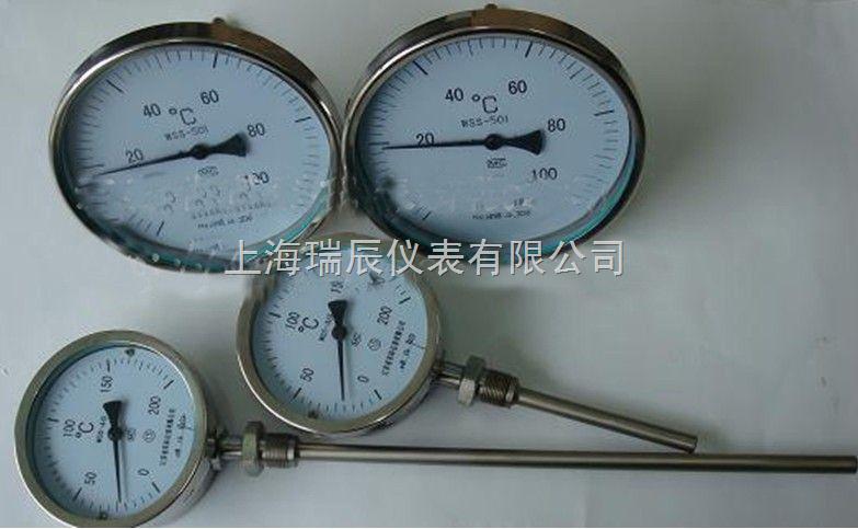 WSS系列指针式温度计是一种测量中低温度的现场检测仪表。指针式温度计可以直接测量各种生产过程中的-80~+500范围内液体、蒸汽和气体介质温度。 主要特点 现场指针显示温度,直观方便;安全可靠,使用寿命长; 多种结构形式,可满足不同要求。 技术参数 执行标准 JB/T8803-1998 GB3836-83 其他参数 标度盘公称直径:60,100,150 精度等级:(1.